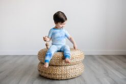 Short Sleeve Bamboo Viscose Baby Toddler Pajama Set in Blue Watercolor by Little Sleepies