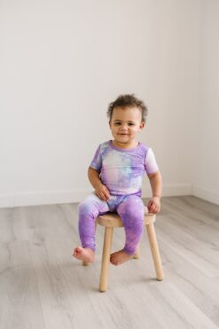 Short Sleeve Bamboo Viscose Baby Toddler Pajama Set in Purple Watercolor by Little Sleepies