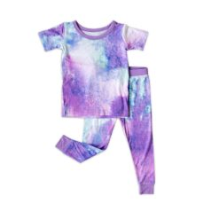 Little Sleepies Purple Watercolor Short Sleeve Two-piece Pajama Set