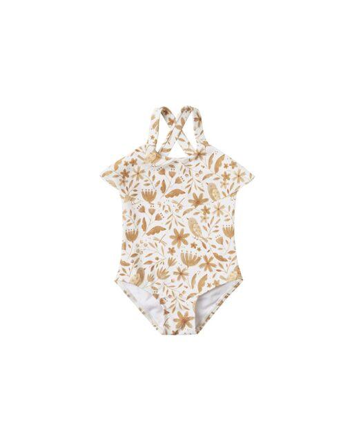 Rylee + Cru Garden Birds Ruffle Onepiece Swimsuit