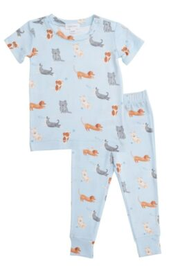 Angel Dear Puppy Play Short Sleeve Bamboo Lounge Wear Set in Blue