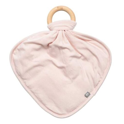 Kyte Baby Light Pink Blush Fabric Lovey with Wooden Teether Ring