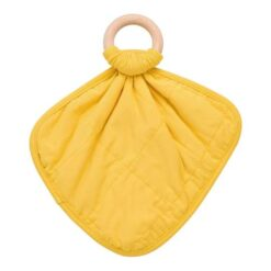 Kyte Baby Yellow Pinnapple Fabric Lovey with Wooden Teether Ring