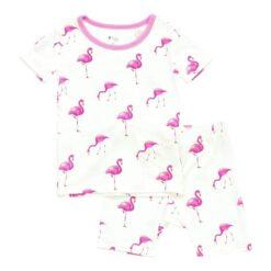 Kyte BABY Short Sleeve Toddler Pajama Set in Flamingo