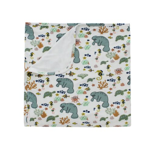 Emerson and Friends Manatee Bamboo Swaddle Blanket