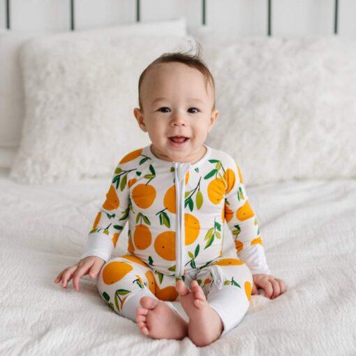 Little Sleepies Clementines Bamboo Viscose Convertible Zippy