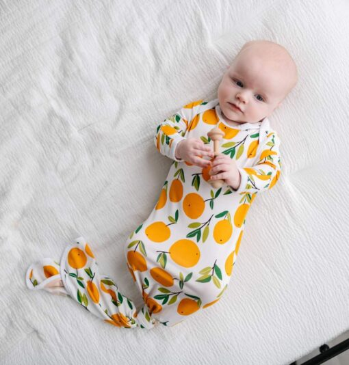 Little Sleepies Clementines Bamboo Viscose Infant Knotted Gown
