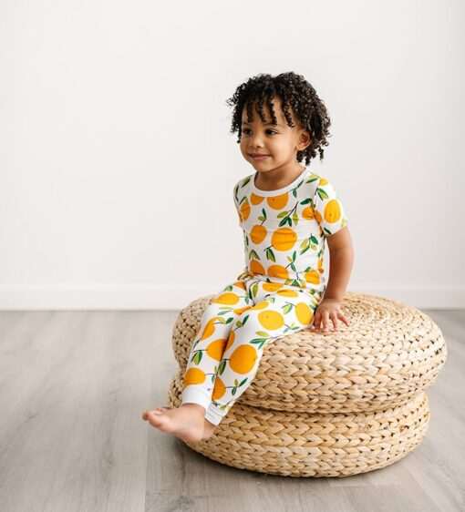 Little Sleepies Clementines Short Sleeve Bamboo Viscose Two-Piece Pajama Set