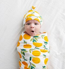 Little Sleepies Clementines Swaddle & Hat Gift Set