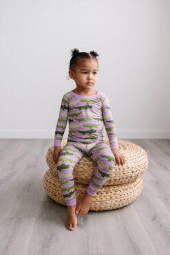 Little Sleepies Purple Crocodile Pajama Set