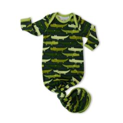 Little Sleepies Green Crocodiles Bamboo Viscose Infant Knotted Gown