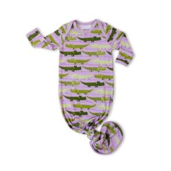 Little Sleepies Purple Crocodiles Bamboo Viscose Infant Knotted Gown