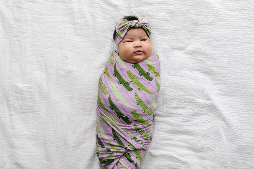 Little Sleepies Purple Crocodiles Swaddle & Headband Gift Set