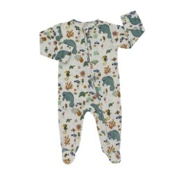 Emerson and Friends Organic Manatee Bamboo Zippered Footie