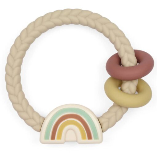 Itzy Ritzy Neutral Rainbow Rattle & Silicone Teether