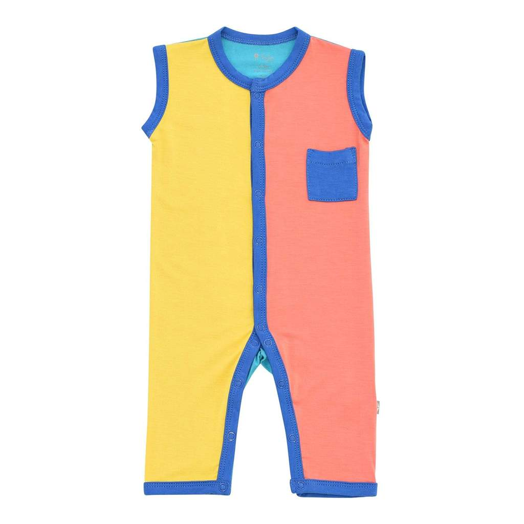 Kyte BABY Indigo Color Block Sleeveless Romper