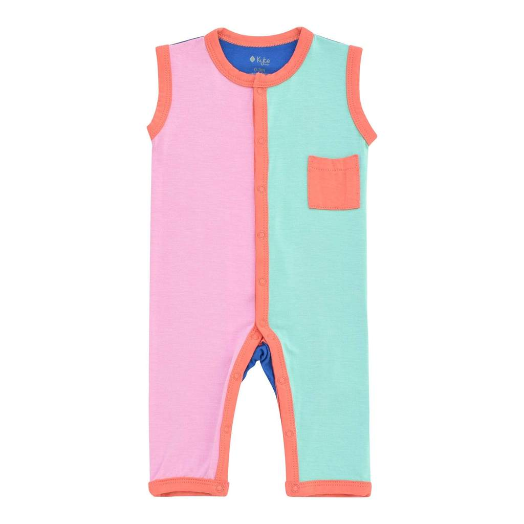 Kyte BABY Limited Edition Colorblock Melon Sleeveless Romper