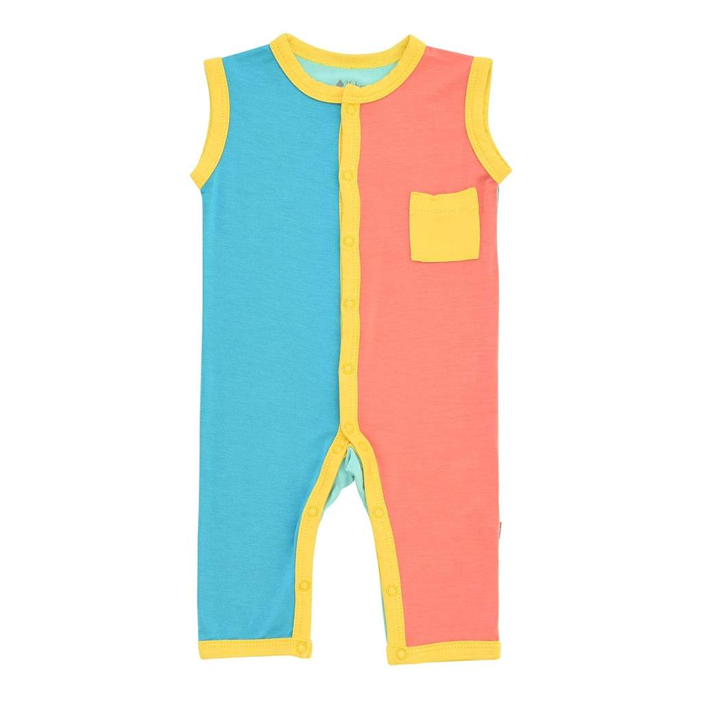 Kyte BABY Pineapple Color Block Limited Edition Sleeveless Romper