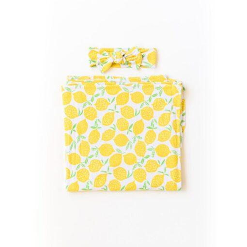 Little Sleepies Lemons Swaddle & Headband Gift Set