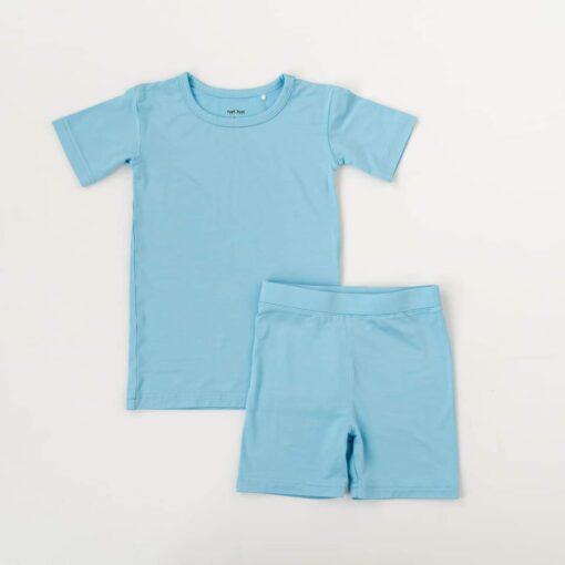 Little Sleepies Sky Blue Short Sleeve and Shorts Bamboo Viscose Two-Piece Pajama Set