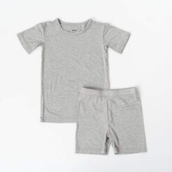 Little Sleepies Heather Gray Short Sleeve and Shorts Bamboo Viscose Two-Piece Pajama Set