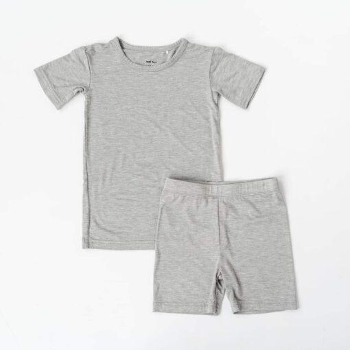 Little Sleepies Heather Gray Short Sleeve and Shorts Bamboo Viscose Two-Piece Pajama Set