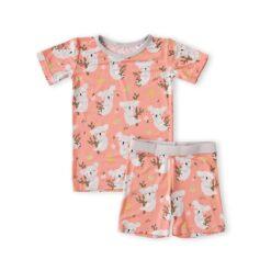 Little Sleepies Coral Koalas Short Sleeve and Shorts Bamboo Viscose Two-Piece Pajama Set