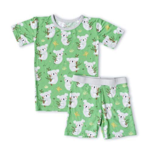 Little Sleepies Green Koalas Short Sleeve and Shorts Two-Piece Bamboo Viscose Pajama Set