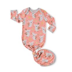 Little Sleepies Coral Koalas Bamboo Viscose Infant Knotted Gown