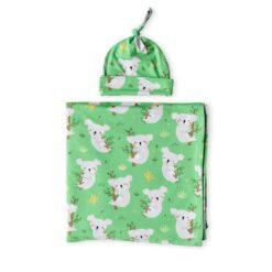 Little Sleepies Green Koalas Bamboo Swaddle & Hat Set