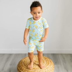Little Sleepies Bananas Short Sleeve and Shorts Bamboo Viscose Two-Piece Pajama Set