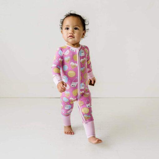 Little Sleepies Pink Cookies & Milk Bamboo Viscose Convertible Zippy