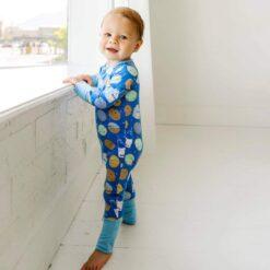 Little Sleepies Blue Cookies & Milk Bamboo Viscose Convertible Zippy