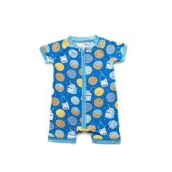 Little Sleepies Blue Cookies & Milk Shorty Bamboo Viscose Zippy