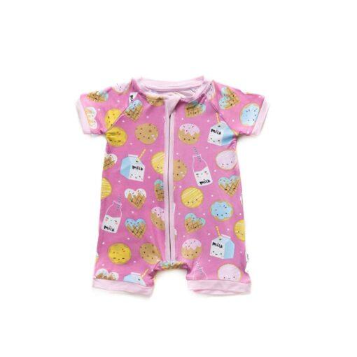 Little Sleepies Pink Cookies & Milk Shorty Bamboo Viscose Zippy
