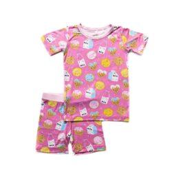 Little Sleepies Pink Cookies & Milk Short Sleeves and Shorts Bamboo Viscose Pajama Set