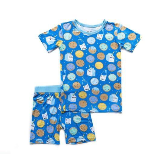 Little Sleepies Blue Cookies & Milk Short Sleeve and Shorts Bamboo Viscose Pajama Set
