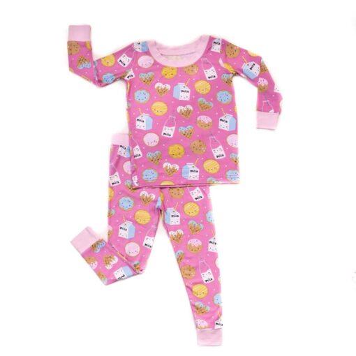 Little Sleepies Pink Cookies & Milk Bamboo Viscose Two-Piece Pajama Set