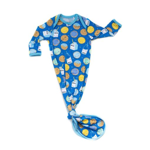 Little Sleepies Blue Cookies & Milk Bamboo Infant Knotted Gown
