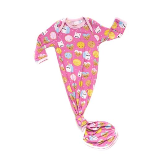 Little Sleepies Pink Cookies & Milk Bamboo Infant Knotted Gown