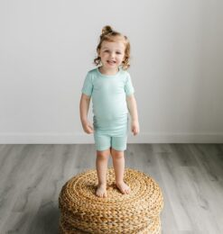 Little Sleepies Aquamarine Short Sleeve and Shorts Bamboo Viscose Two-Piece Pajama Set