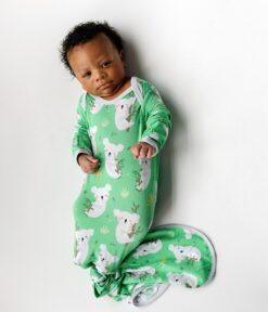 Little Sleepies Green Koalas Bamboo Viscose Infant Knotted Gown