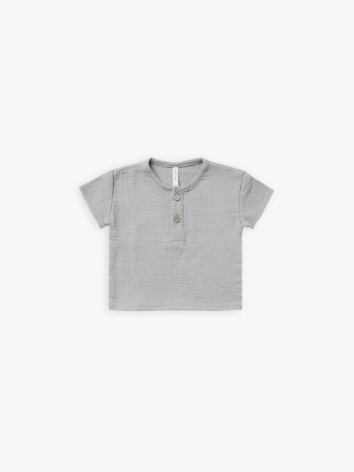 Quincy Mae Woven Henry Top In Periwinkle