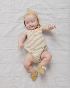 Quincy Mae Sleeveless Bubble Onesie In Gold Stripe