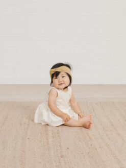 Quincy Mae Skirted Tank Onesie In Ivory with Tiny Flowers