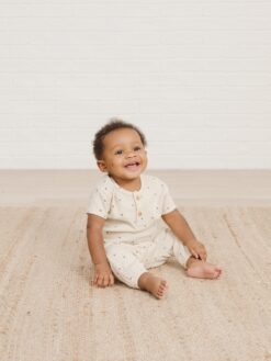 Quincy Mae Woven Henry Top with Stars in Natural