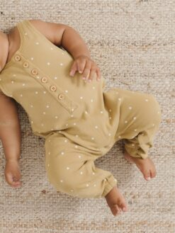 Quincy Mae Sleeveless Jumpsuit In Gold
