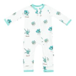 Kyte BABY Bamboo Zippered Romper in Succulent