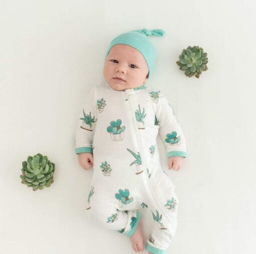Kyte BABY Zippered Romper in Succulent