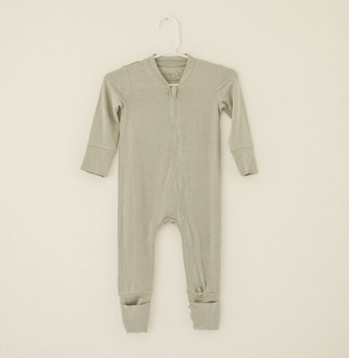 Willow+Co Olive Green Bamboo Viscose Footie/Romper